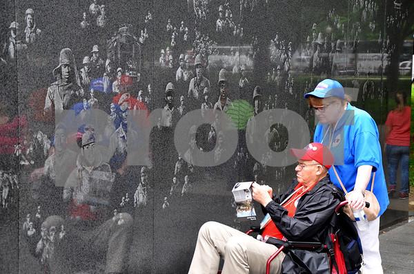 - Messenger photo by Peter Kaspari<br /> <br /> Korean War Veteran Jerry Volkert and his daughter, Ann Lawrence, look at the wall at the Korean Veterans' Memorial in D.C.