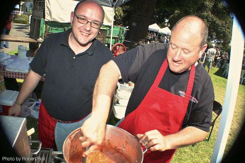 John Jackson (left) and Nathan Samuels of Oxnard cook up a big pot o' Red as their entry in the Camarillo Country Music Festival and Chili Cookoff on Sunday the fourth of September, 2011.