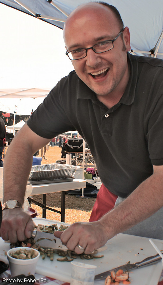 John Jackson of Oxnard chops up a storm for his entry in the Salsa category at the Camarillo Country Music Festival and Chili Cookoff.  Jackson's booth for the Camino Del Sol Memorial Center in Oxnard served chili (both red and green) to hundreds of the event's 2,100 visitors.