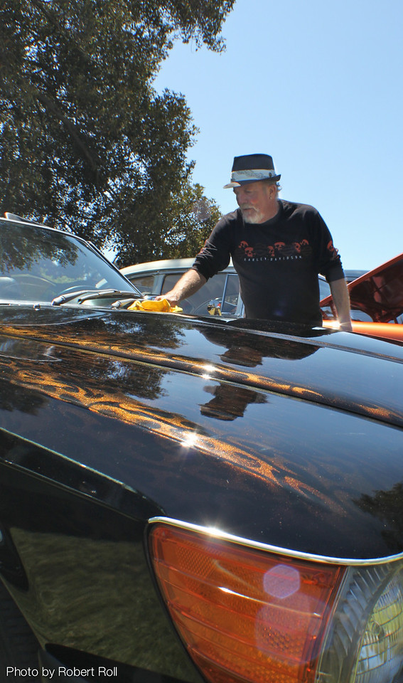 The custom paint detail on Bert Hale's 1973 Mercedes 450 SL comes alive in the late summer sunlight.<br /> Car Show judges at the thrid annual Camarillo country Music Festival and Chili Cookoff were Willie Bidwell, Jim Perske, Ron Cowan and Jim Fain.