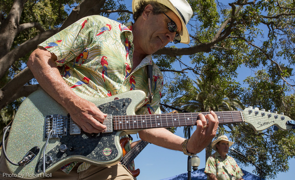 Bob Schuster takes a solo with the Hodads at the 2014 Camarillo Chili Cook-off and Music Festival.