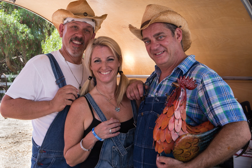 Camarillo Chili Cook-Off favorite sons Aaron Reeves and Kirk Benitez invited Camarillo's Peggy Russell to suit up for their Chili Chili Bang Bang entry this year.  The trio got into the Camarillo spirit down on the ranch with straw hats, overalls and an ersatz rooster.