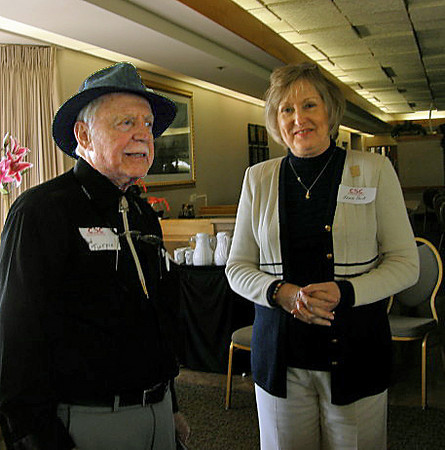 2011 CSC alumni gathering in Sun City, Arizona.  I'd know that handwriting anywhere!  Longtime journalist and publisher Ted Turpin chats with CSC's Janie Park.