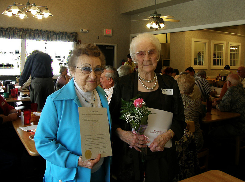 Two of our favorite ladies:  Lois Christensen and Evelyn Roberts -- honorees at a CAR in Mesa, Arizona on February 6, 2010.  They were recognized as <b><i>Honorary Mayors of Chadron</i></b> for the day in a proclamation signed by Mayor Donald Grantham.  Neighbors for so many years in Dawes County -- Lois and Evelyn are now close neighbors in Tempe, Arizona!