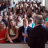 President Ken Ruscio '76 chats with first-year students in Lee Chapel prior to his speech.