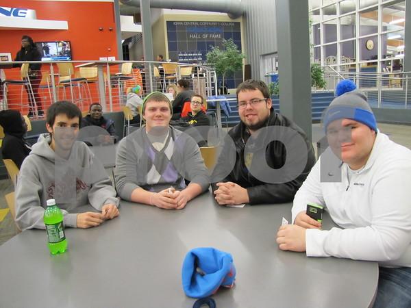 Alarick Seuferer, Cody Thompson, Dan DeWolf, and Kyle Menke at Bingo night at ICCC.