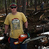 The duty chainsaw operator:  Perry Jewett.
