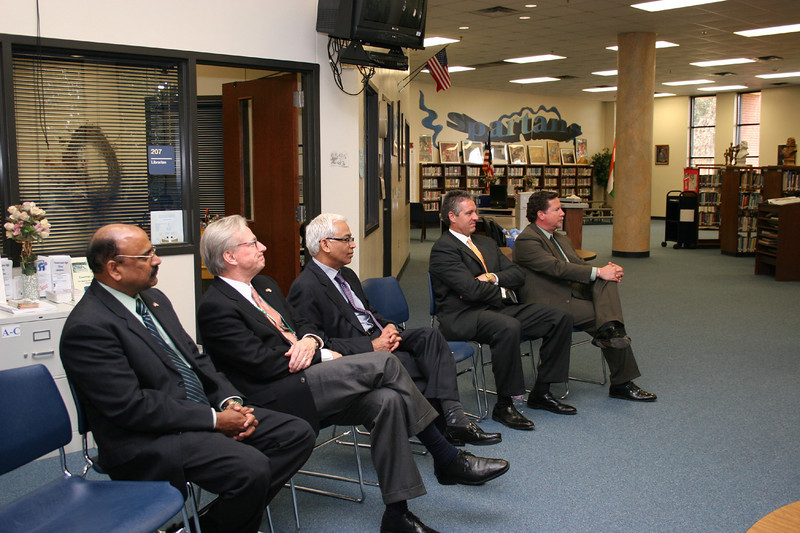 Consul General members and district officials listen to a presentation.