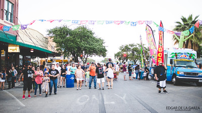 Festival goers make their way down N. Chaparral st in downtown Corpus Christi during the Dia De Los Muertos festival. Saturday October 29, 2016.