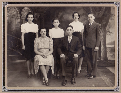 William Norman Brobst family. Wm & Victoria marired on July 15, 1922. front L to R: Victoria (Hess) Brobst (b. 6/7/1899, d. 1977), William Brobst (b. 10/9/1899, d. 6/25/47). Back row, L to R: Mae (Brobst) Moyer (b. 4/19/25), Corrine (Brobst) Bubbenmoyer (b. 1/17/28), Fern (Brobst Heckman (b. 2/21/24) and Lester Brobst (b. 2/7/23).