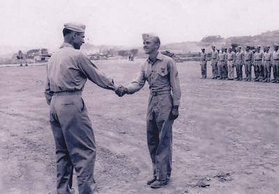 Harold Derr receiving the Air Medal, in Okinawa, Japan, in 1945.