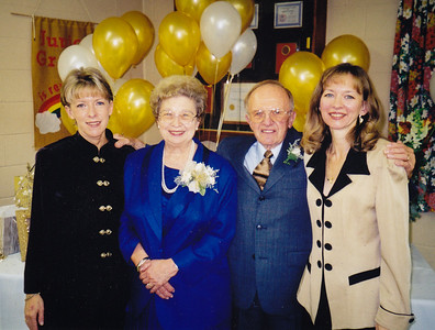 Esther (Hill) & Harold Derr at their 50th anniversary, with daughters Dorian Fetherolf (left) and Lisa Lippman (right). 1999