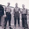 In 1945, Harold (middle) and two others sepnt 3 days in a life raft when their torpedo bomber crashed. They were assumed dead, their lockers were clear out, and MIA letters were send to their families. Whenever they heard a plane coming, they would have to hide themselves until they could recognize the plane. Here they are seen after being rescued with borrowed clothing. Harold says that the hardest part for him was knowing that his family received MIA letters and believed he was dead.