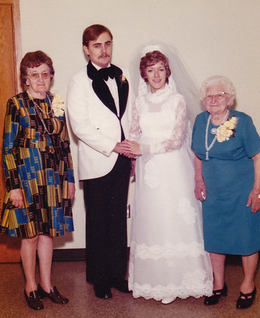 The wedding of Daniel Fetherolf and Dorian Derr, with Dorian's grandmothers, Sadie Derr (left) and Gertrude Hill (right).