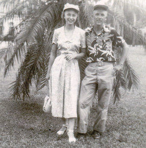 Harold and Esther in Florida, 1951, on their honeymoon. Due to Harold being in the service they had to wait 2 years to have a Honeymoon.