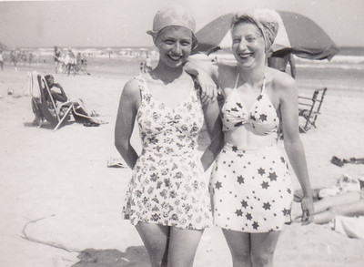 Esther Hill and Dorothy Sherer in Atlantic City. 'Grampy' (her father) bought her suit and warned her not to go in the water because he heard someone almost drowned there. Esther is around 18 years old.