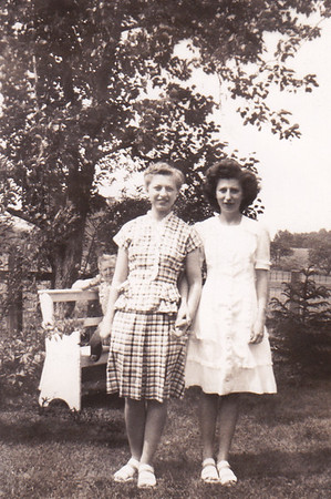 Esther Hill (around age 18, later Derr) and Dorothy Sherer in Atlantic City. They wore each other's dress for this picture.