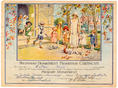 Beginners' Department Promotion Certificate for Esther Hill (later Derr), Sept. 17, 1933.