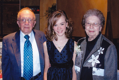 Harold and Esther Derr with their great-granddaughter Madisyn, at their 60th anniversary, Nov 2009.