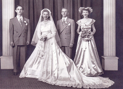 Harold and Esther (Hill) Derr, married Nov 19, 1949. With them are Harold's sister Ester and her husband Elton Seidel.