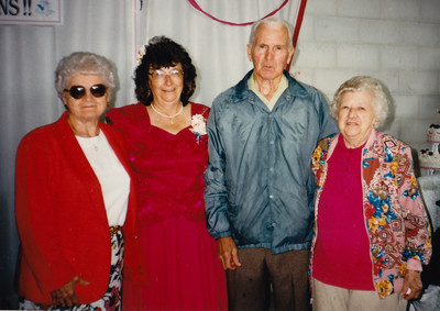 L-R: Mable (Heffner) Fry, Mary (Hill, Grim) Fessler, Stanley Heffner, Ellen (Hill) Heffner. Event: Wedding of Mary Grim to William Fessler.