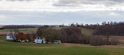 Hill Homestead (foreground), Where many generations of Hills lived. Although still in the family, Milton and Gertrude (Strausser) Hill were the last generation to live and farm here. Homes in the background: (L-R) 1) James and Mae (Kerr) Magdalinos. 2) Home that John L. and Melva V. (Brobst) Hill purchased as a schoolhouse and fixed into a home, where they raised their families and lived the remainder of their days. Currenlty owned and lived in by the family of Brian Mohn. 3) shed and house of Daniel Hill (son of John and Melva). 4) Home of Allen and Anna (Hill) Billig. From this angle appears to be in the woods. She is daughter to John & Melva Hill.