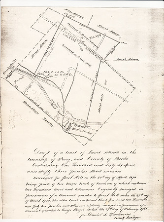 Draft of a tract of land situate in the township of Perry, and County of Berks  Containing one hundred and sixty-six acres. and Fifty -three perches strict measure. Surveyed for Jacob Hill on the 29th day of April 1870 being parts of two larger tracts of land, one of which contained two hundred acres and allowance. Originally surveyed in pursuance of a ______ granted to Jacob Hill dated the 27th day of March 1739, the other tract contained thirty five acres one hundred forty two perches and allowance originally surveyed in pursuance of a warrant granted to George Stinger stated the 27th day of February 1766. Mr. Daniel S. Zacharias County Surveyor.