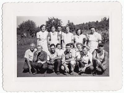 Worker's at Joe Gilardone's factory.  Front, L - R: 7) Rachel (Wisser) Miller, 9) Carl Heist.  Back, L - R: 3) Leon Hoppes, 4) Kathryn Haag, 5) Melva Hill, 6) Agnes Hill.