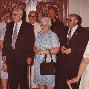 50th anniversary for Jacob and Agnes (Brobst) Hill, in 1983. To their right is son William 'Billy' Hill. Behind them is Jannette (Hoffa) Loveberg and husband (who live in CA).