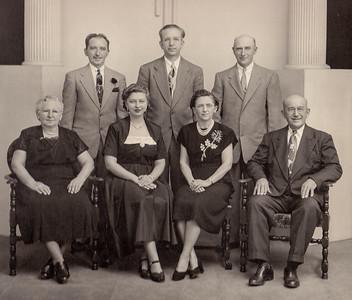 Milton Hill & Gertrude Strausser married on 6 Nov 1910. Front row: Gertrude (Strausser) Hill, Esther (Hill) Derr, Ellen (Hill) Heffner and Milton J. Hill. Back: Milton D. Hill, Jacob W. Hill and John L. Hill.