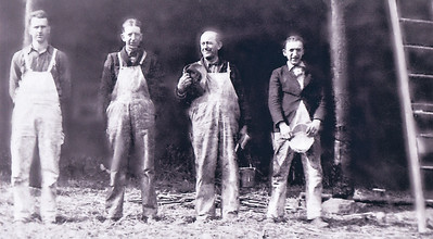 Milton J. Hill had his own painting and wallpapering business and all of his sons and son-in-law worked for him. Here's the crew in 1941; Stanley Heffner (son-in-law, husband of daughter Ellen), Jacob Hill, Milton J. Hill, and Milton D. Hill.  His son John L. Hill worked for him, but is missing from this photo.