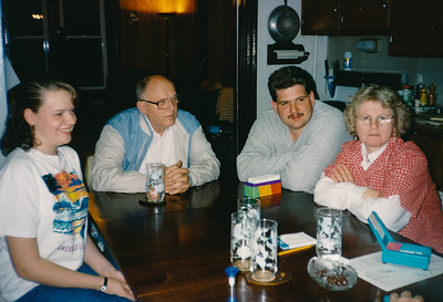 L-R: Esther Myatt, John Hill, Robin Myatt, Marie Hill, in the Myatt home.