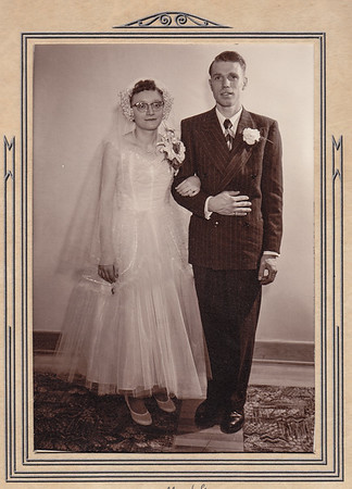 Anna Esther (Hill) and Allen Billig wedding portrait.