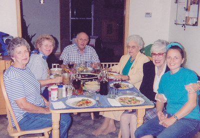 L-R: _____, Marie (Schrack) HIll, John Hill, Lucille Coultrup, Jerry Kirk, Beth (Hill) Humma, in the home of Jeb and Beth (Hill) Humma, 1999.