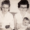 L to R: Marie M. (Schrack) Hill with daughter Beth A. Hill (1.5 weeks), Mary G. (Hill) Grim with daughter Lori L. Grim (3.5 months), Nov. 1962.