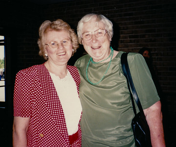 Marie (Schrack) Hill with friend Gurda Zettlemoyer, in Grantville Assembly Hall, PA.