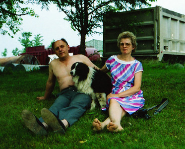 John and Marie (Schrack) Hill with their dog Trouble.