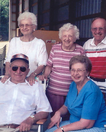 Hill reunnion, Milton D. Hill with his wife June R. (Schappell) Hill. Ellen (Hill) Heffner (center). Harold and Esther (Hill) Derr. Sept, 2003.