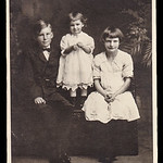 The children of Gertrude Hill's sister Sallie (Strausser) Hoffa:  LeRoy, Esther and Jeanette Hoffa. Leroy was out shooting birds. Mother asked the Esther to go get him. She ran out the hous ...