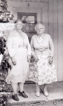 Strausser sisters: Mabel Hinnershitz & Gertrude Hill, May 29, 1961 in Clearlake Oaks, CA. John & Melva Hill took these two with them to CA to visit Sallie Hoffa. The one time they drove in a 1948 light ble dodge, the next time in a 55 dodge.
