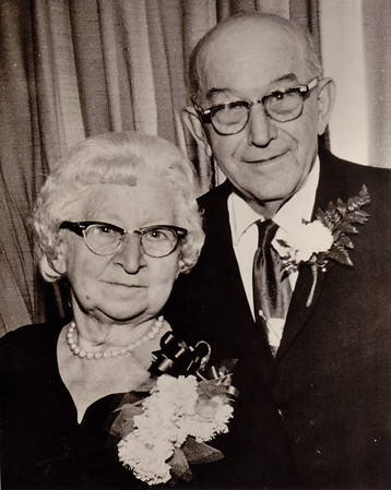 Milton Hill and Gertrude (Strausser) at their 50th wedding anniversary party.  Married 6 Nov 1910.