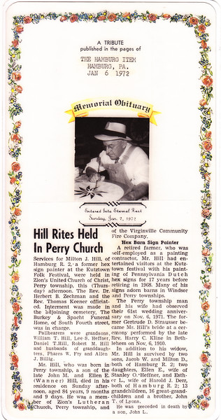 A tribute published by the Hamburg Item, Jan 6, 1972, in memory of Milton J. Hill.