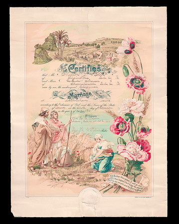 Marriage cirtificate of Milton J. Hill and Gertrude Strausser.