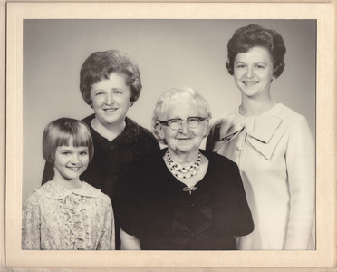 Left to right: Valerie Fry, Ellen (Hill) Heffner, Gertrude (Strausser) HIll, Mabel (Heffner) Fry.