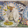 Post card showing Milton Jacob Hill at the Kutztown Folk Festival, painting barn star 'Hex' signs. Milton entertained visitors at the festival with his paintings for 17 years before retiring in 1968.