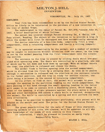 Milton Hill's letter to businesses interested in buying his mousetrap patent