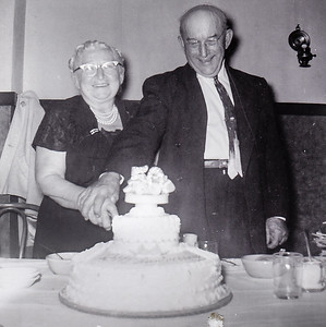 Gertrude (Strausser) & Milton Hill at their 50th anniversary. (Married Nov 6,1910 in Bethlehem, PA).