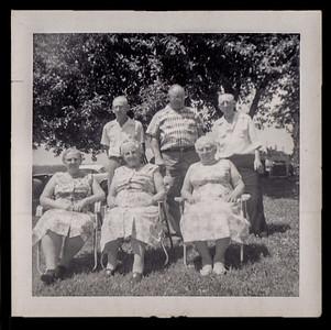 Back: Curtis Strausser, Wilson Strausser, Warren Strausser. Front: Mabel Hinnershitz, Sally Hoffa, Gertrude D. (Strausser) Hill.