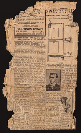 "Newspaper article, dated July 14, 1907, regarding Milton Hill's mouse trap invention: ""New Trap Catches and Cuts off the Head"". The trap automatically reset itself, allowing for multiple mice to be 'trapped', or rather 'guillotined'.  This invention was estimated to be valued at $25,000.00 dollars in 1907! However, Milton could not find a manufacturer to make it."