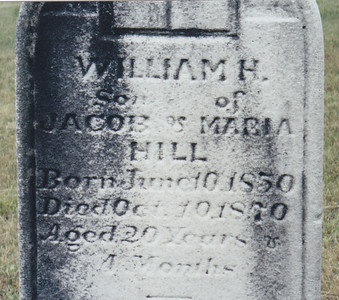 Milton J. Hill's uncle in family burial plot. His is the only stone, so possibly his parents (Jacob & Maria) are there with no marker?
